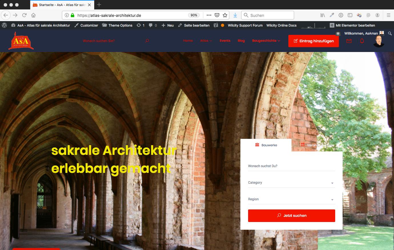 Bildschirmfoto AsA Startseite
