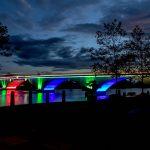 technische Lichtprobe für die Stadtbrücke Schwedt/Oder