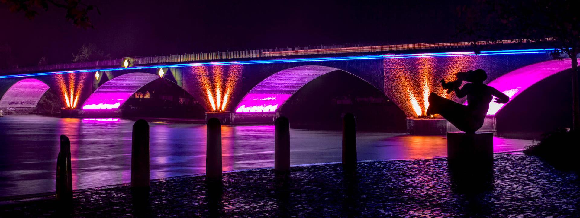 technische Lichtprobe der Stadtbrücke Schwedt/Oder