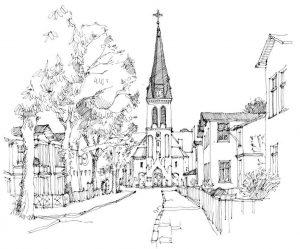 Kirche-Ahlbeck, Zeichnung von Clemens Kolkwitz