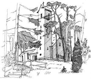Kirche-Bansin Usedom, Zeichnung Clemens Kolkwitz