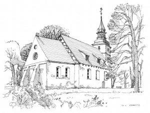 Kirche-Benz Usedom, Zeichnung Clemens Kolkwitz