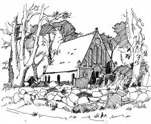 Kirche-Garz Usedom, Zeichnung Clemens Kolkwitz