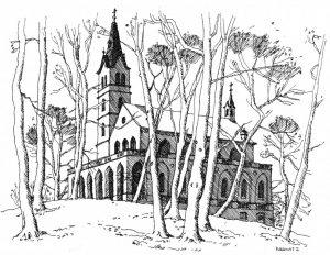 Kirche-Heringsdorf Usedom, Zeichnung Clemens Kolkwitz
