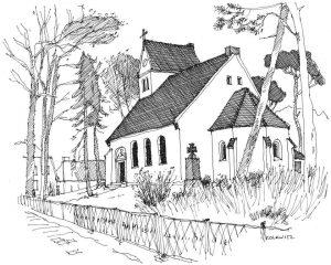 Kirche-Karlshagen Usedom, Zeichnung von Clemens Kolkwitz