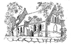 Kirche-Koserow Usedom, Zeichnung Clemens Kolkwitz