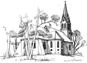 Kirche-Krummin Usedom, Zeichnung Clemens Kolkwitz