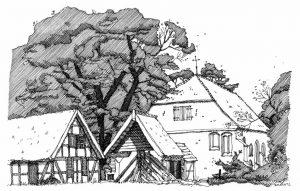 Kirche-Liepe Usedom, Zeichnung Clemens Kolkwitz