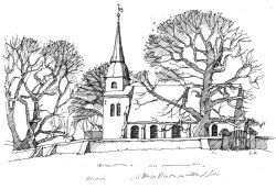 Kirche-Mellenthin Usedom, Zeichnung Clemens Kolkwitz