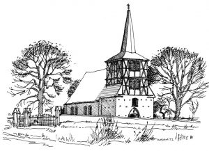 Kirche-Mönchow Usedom, Zeichnung Clemens Kolkwitz