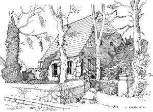Kirche-Morgenitz Usedom, Zeichnung Clemens Kolkwitz