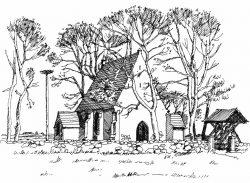 Kirche-Netzelkow Usedom, Zeichnung Clemens Kolkwitz