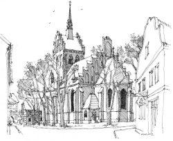 Kirche-Usedom, Zeichnung Clemens Kolkwitz