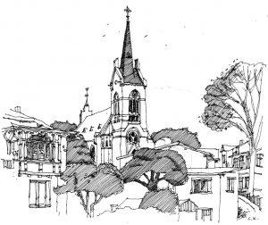 Kirche-Zinnowitz Usedom, Zeichnung Clemens Kolkwitz