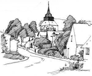 Kirche-Zirchow Usedom, Zeichnung Clemens Kolkwitz