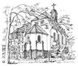 St.-Otto-Kirche-Zinnowitz Usedom, Zeichnung Clemens Kolkwitz